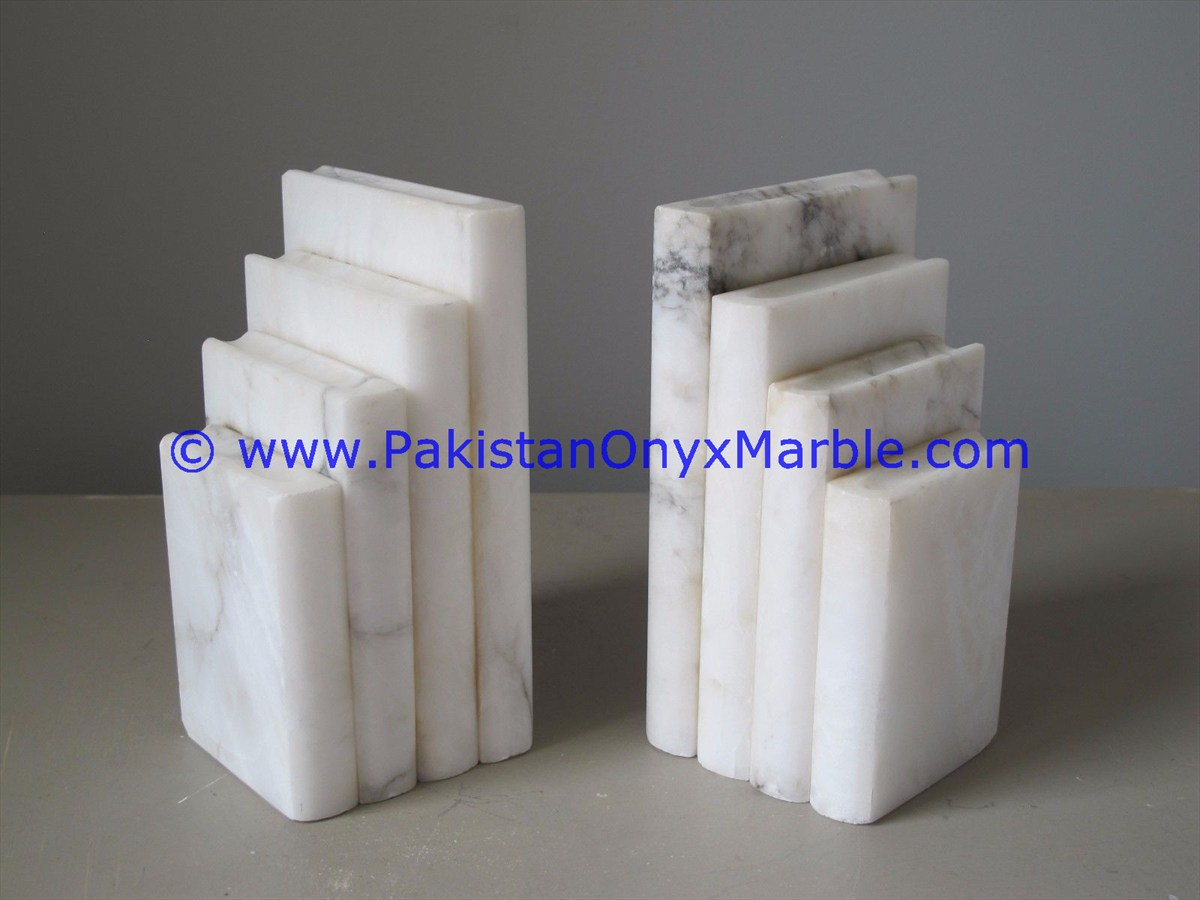 marble bookends book shaped natural marble black white red beige