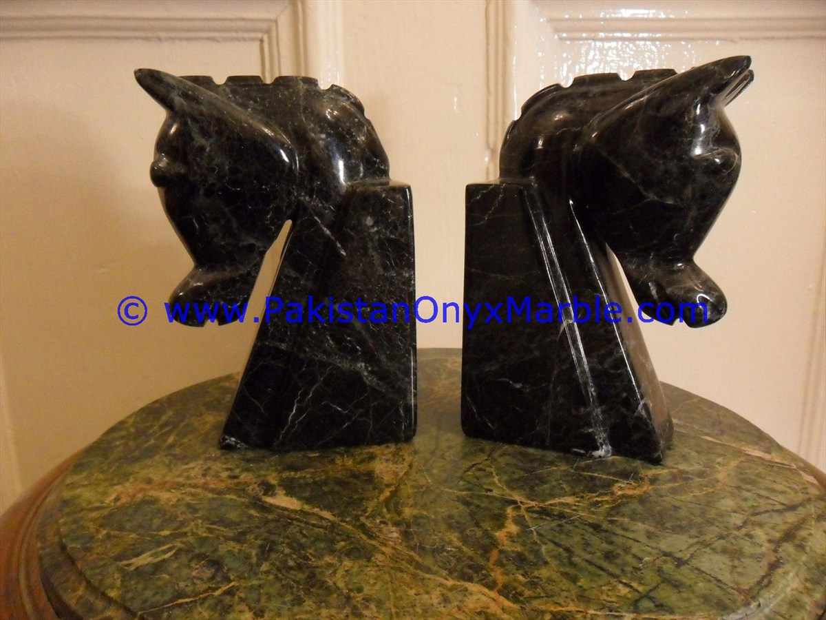 Marble Bookends Horse Head Staute Sculpture Figurine