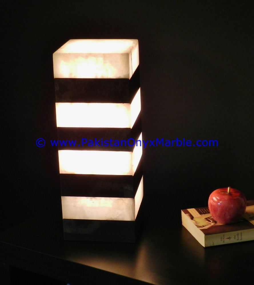 Onyx lamps square cube rectangle shaped table lamps handcarved onyx square cube rectangle shaped lamp 07 geotapseo Choice Image