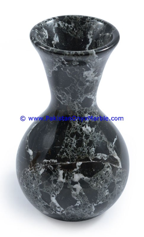 Marble Vases Black Zebra Marble Handcrafted Natural Stone Flower