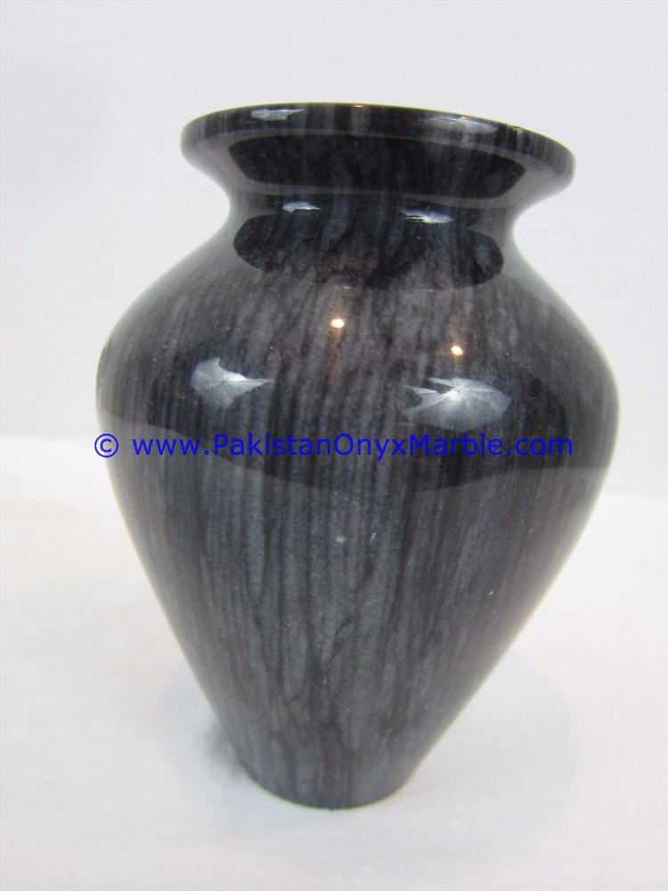 Marble Vases Jet Black Marble Handcrafted Natural Stone Flower Vases