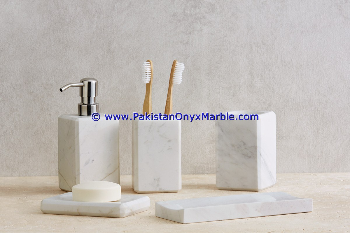 marble bathroom bath accessories set natural stone marble ziarat ...