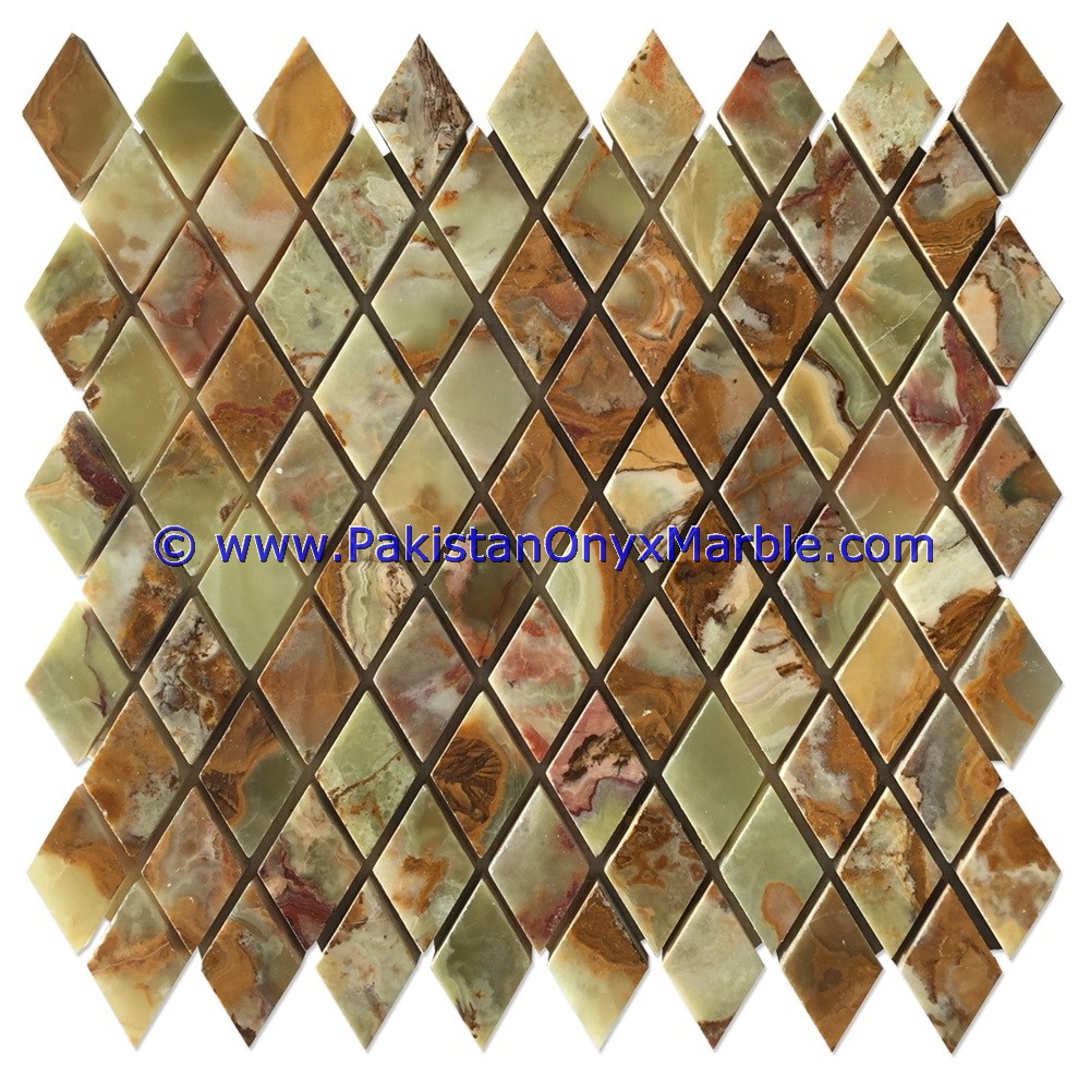 Onyx mosaic tiles multi green onyx square diamond basketweave brick multi green onyx tiles 07 dailygadgetfo Image collections