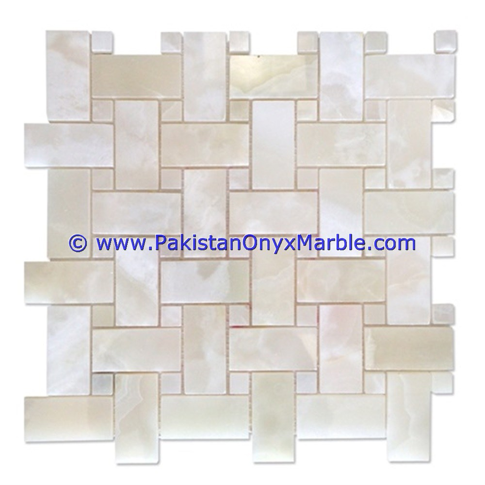 onyx mosaic tiles White Onyx square diamond basketweave brick ...