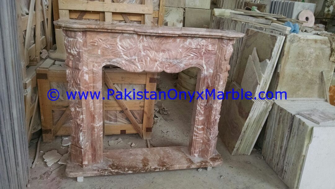 Marble Fireplaces Red Marble Handcarved Modern Designs Surround Hearth Flower Sculptured