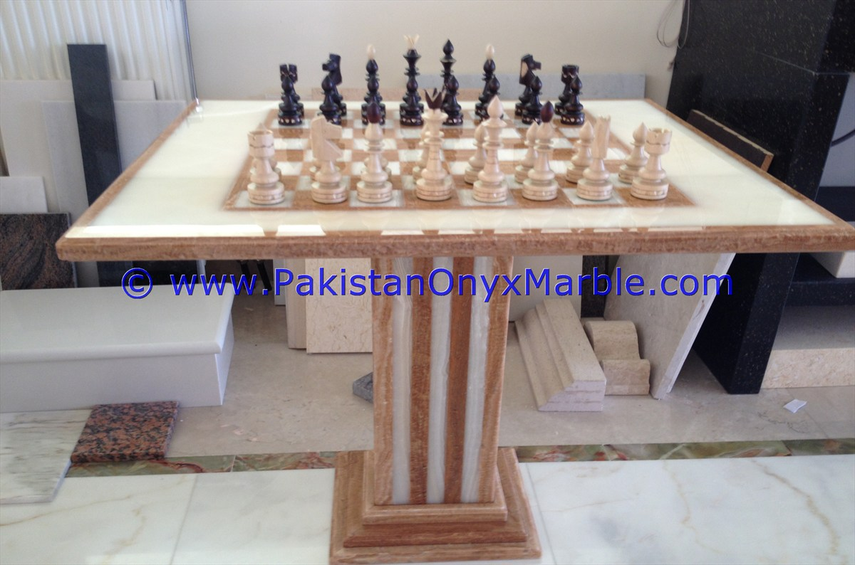 Onyx Tables Modern Chess Table Coffee Natural Stone Chess Figures Photo  Gallery